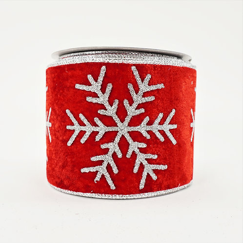 RIBBON VELVET SNOWFLAKE GLITER 4in x 10yd RED AND SILVER