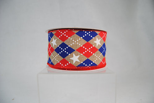 RIBBON ARGYLE STARS 2.5X10 RED,WHITE AND BLUE