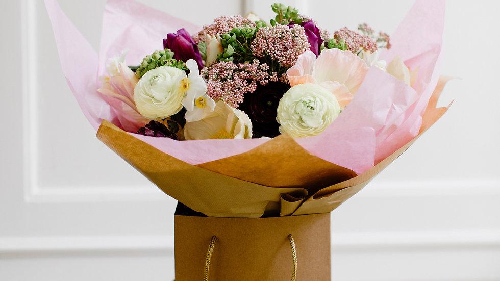Seasonal Gift wrapped Handtied Bouquet