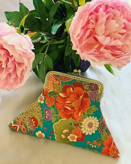Japanese Flowers in Teal