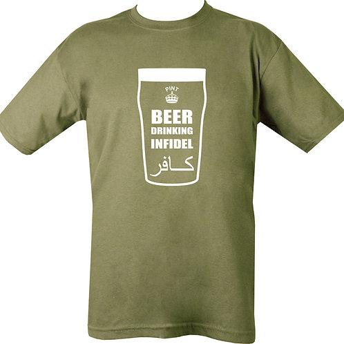 Beer Infidel Printed T Shirt Olive Green.
