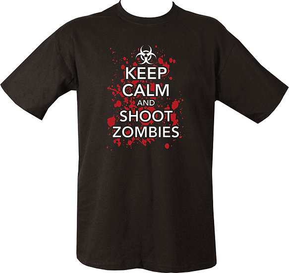 Kombat Keep Calm and shoot all Zombies Printed T shirt