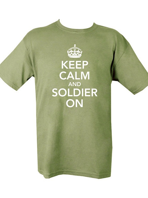 Keep Calm and Soldier On Printed T Shirt