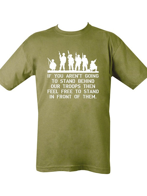 Stand Behind Our Troops Printed T Shirt