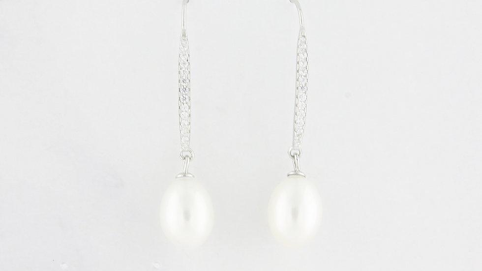 Freshwater Pearl Linear Drop Earrings in Sterling Silver