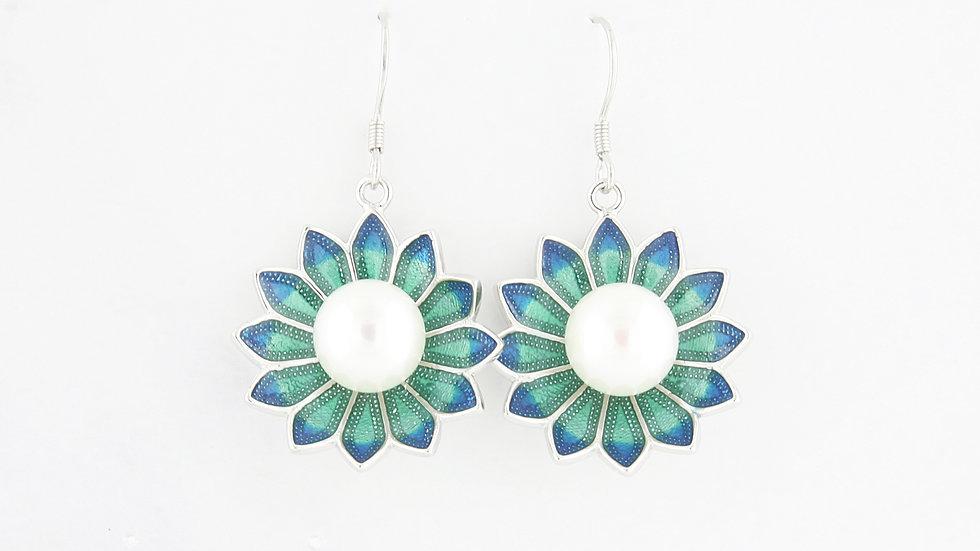 Freshwater Pearl Enamel Flower Hook Earrings in Sterling Silver