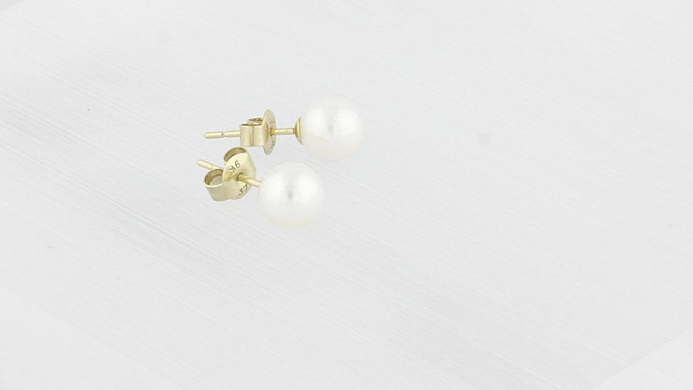 9K Gold AAA Cultured Freshwater Pearl Stud Earrings