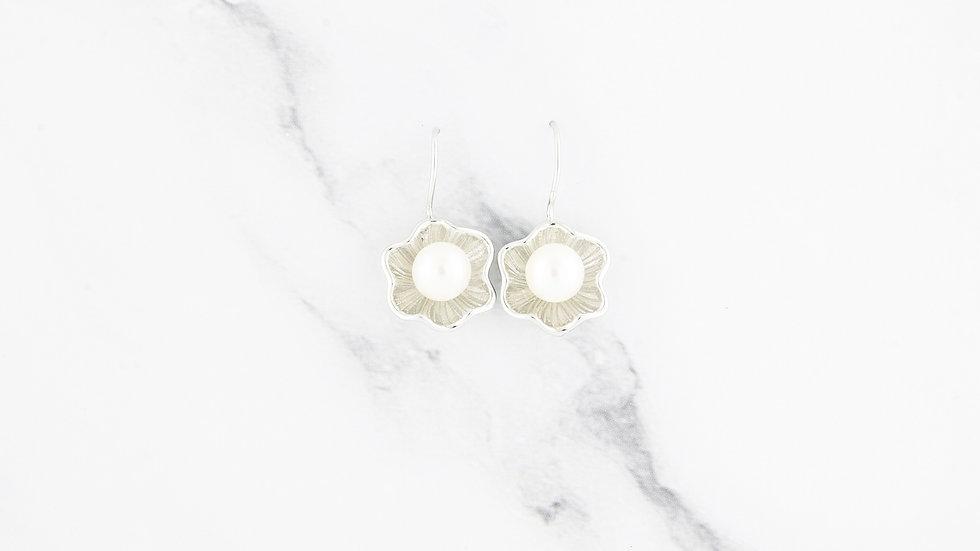 Flower Blossom Freshwater Pearl Earrings in Sterling Silver