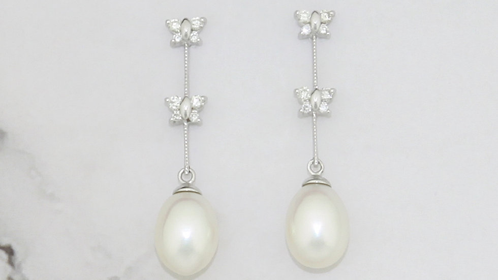 14K White Gold Freshwater Pearl Earrings