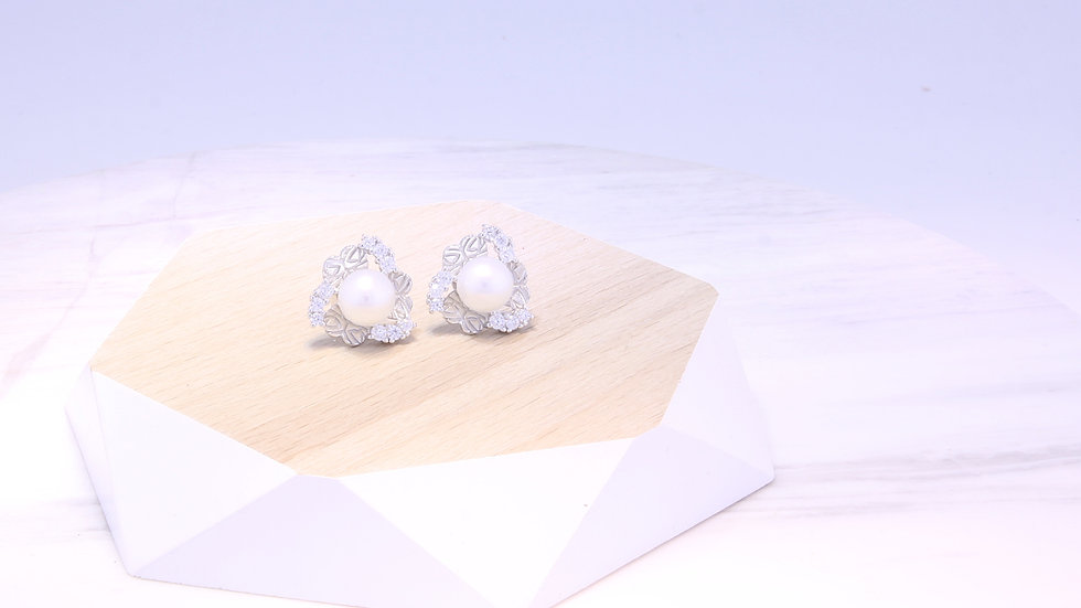 Freshwater Pearl and Cubic Zirconia Stud Earrings in Sterling Silver