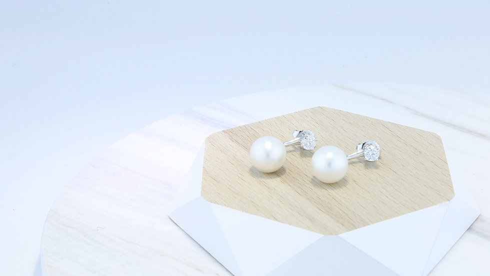 925 Silver 2-way SWAROVSKI® Zirconia/ Freshwater Pearl Earrings