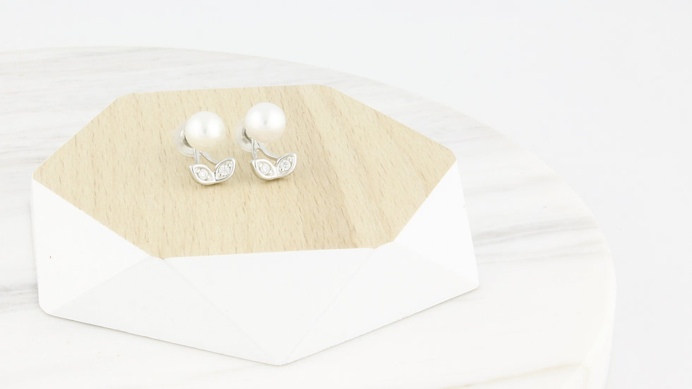 925 Silver 2-way Freshwater Pearl Earrings with CZ