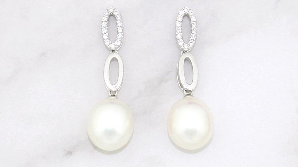 18K White Gold Freshwater Pearl Earrings