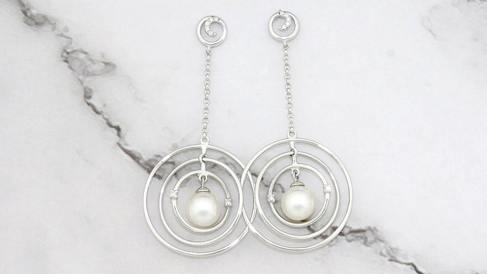 14K White Gold Freshwater Pearl Earrings