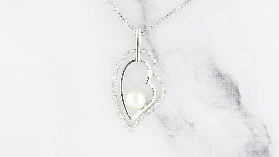 Freshwater Pearl and Diamond Accent Pendant in 14K White Gold