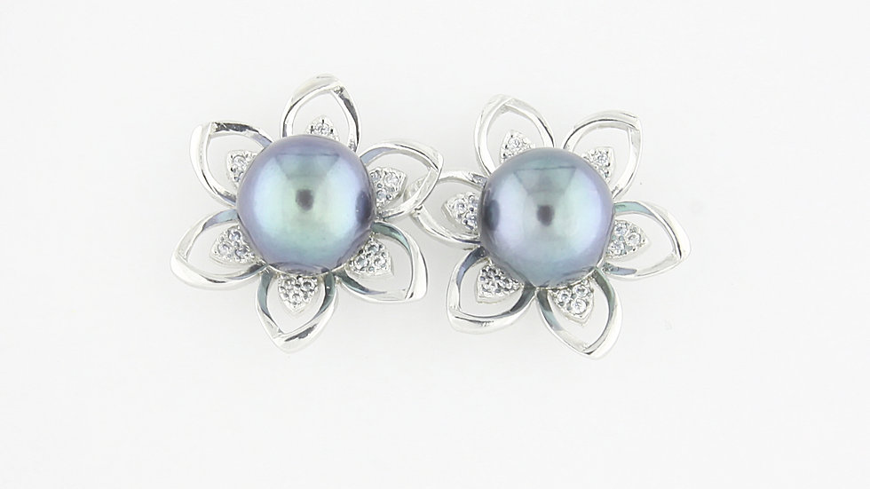 Freshwater Pearl and Cubic Zirconia Flower Earrings in Sterling Silver