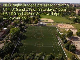 Pre-Season training starts this weekend April 17-18