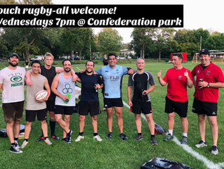 Adult touch rugby every wednesday at 7pm @ Confederation park.