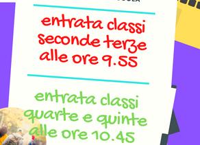 Primo giorno. Orario ed info per le classi II, III, IV e V