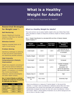 What is a Healthy Weight update referenc