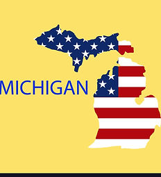 michigan-state-of-america-with-map-flag-