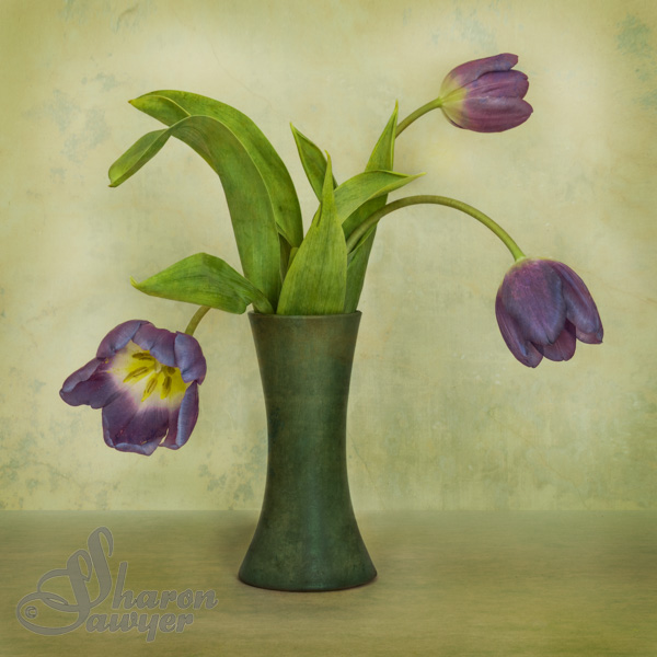 Tulips in Green Vase
