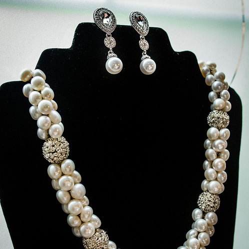 Button Pearl & Silver Crystal Ball Set