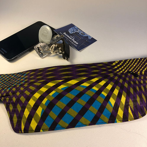 Belt bag extra flat, violet, yellow, blue, belt wax fabric, for forró or salsa dance, manufactured in Paris