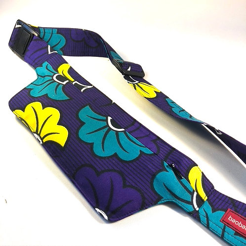 Belt bag extra flat, violet, turquoise, yellow, belt wax fabric, for forró and other couples dances, manufactured in P