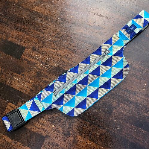 Belt bag extra flat, blue, dark blue, triangle, silver, sequins, for forró or salsa dance, manufactured in Paris