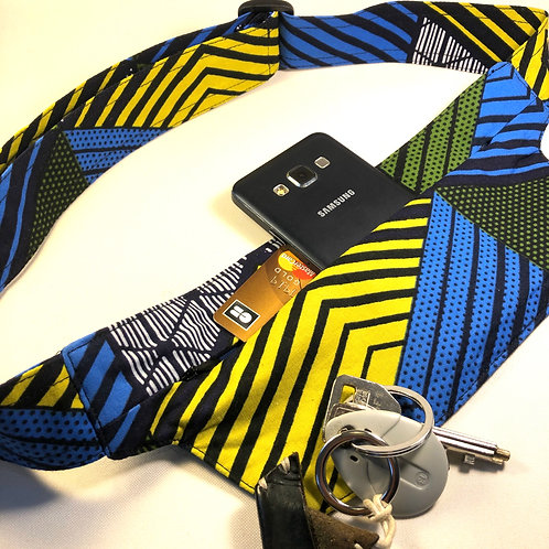 Belt bag extra flat, blue, yellow, green, white, belt wax fabric, for forró salsa dance, manufactured in Paris
