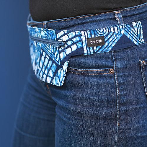 Belt bag extra flat, blue, dark blue, belt wax fabric, for forró or salsa dance, manufactured in Paris