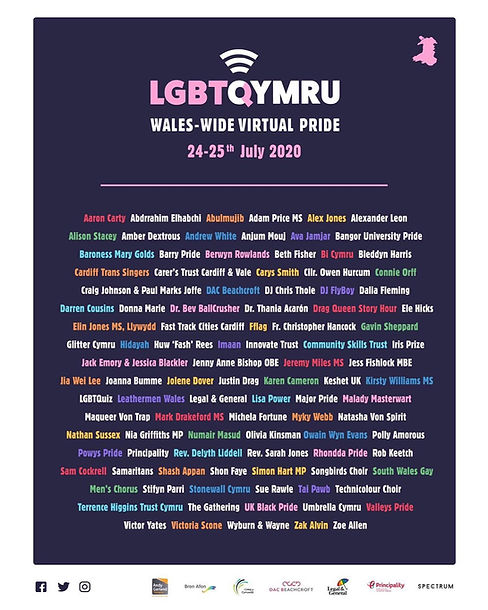 Line up for LGBTQYMRU Wales-wide Virtual Pride
