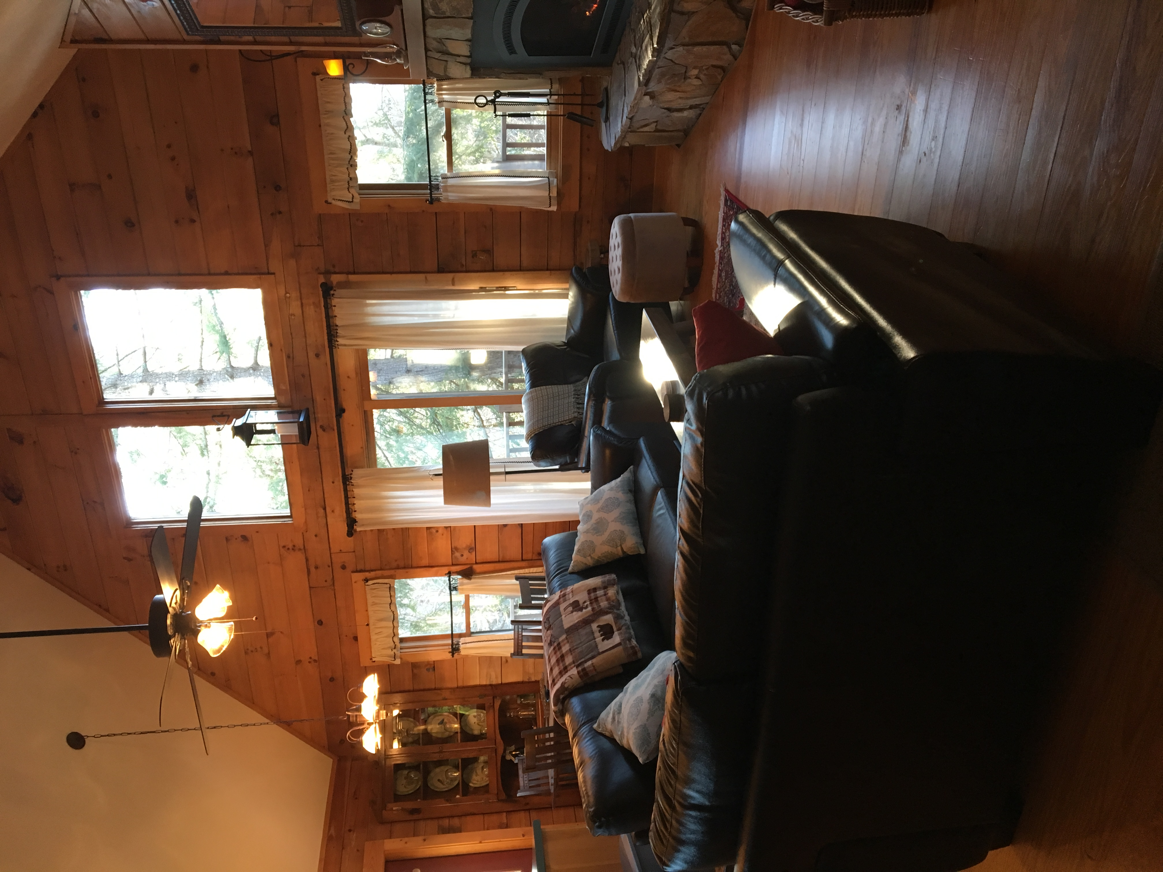 Living room with deck off the side