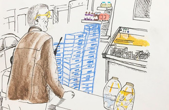 Sketch in a Fish & Chip Store