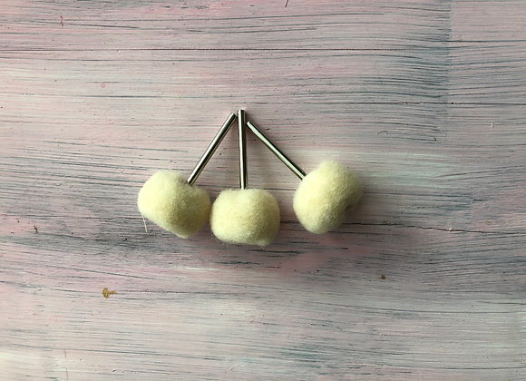 Polishing SOFT wool felt bits set of 3 for dremel rotary tool for BJD or doll ma