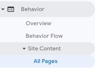 Behavior in Google Analytics