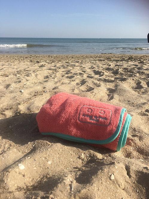 Serviette de plage enfant CORAIL biais vert d'eau
