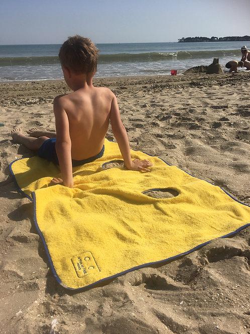 Serviette de plage enfant CITRON biais bleu roi
