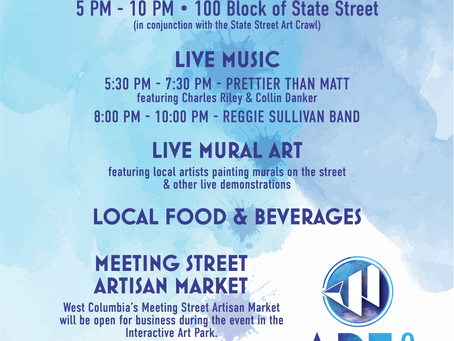 West Columbia's Art on State & Special Night Edition Meeting Street Artisan Market, Friday, May 7