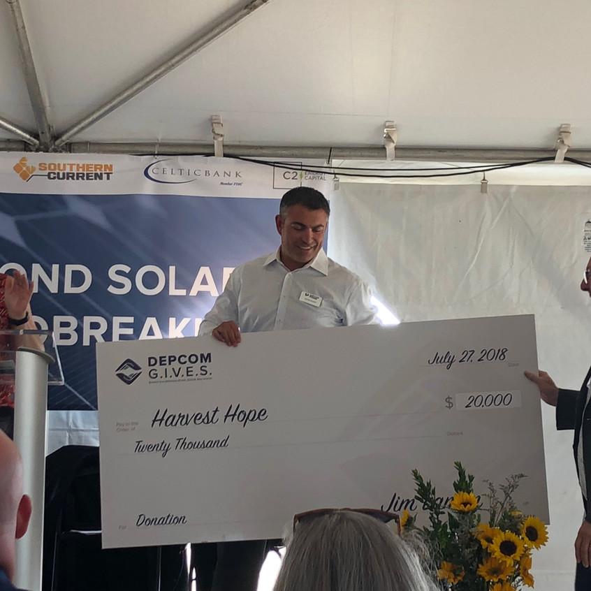 Harvest Hope $20,000 check presented