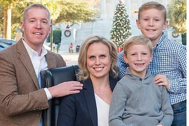 Michael weaver, his wife Heather, and his two sons Brayden and Brooks