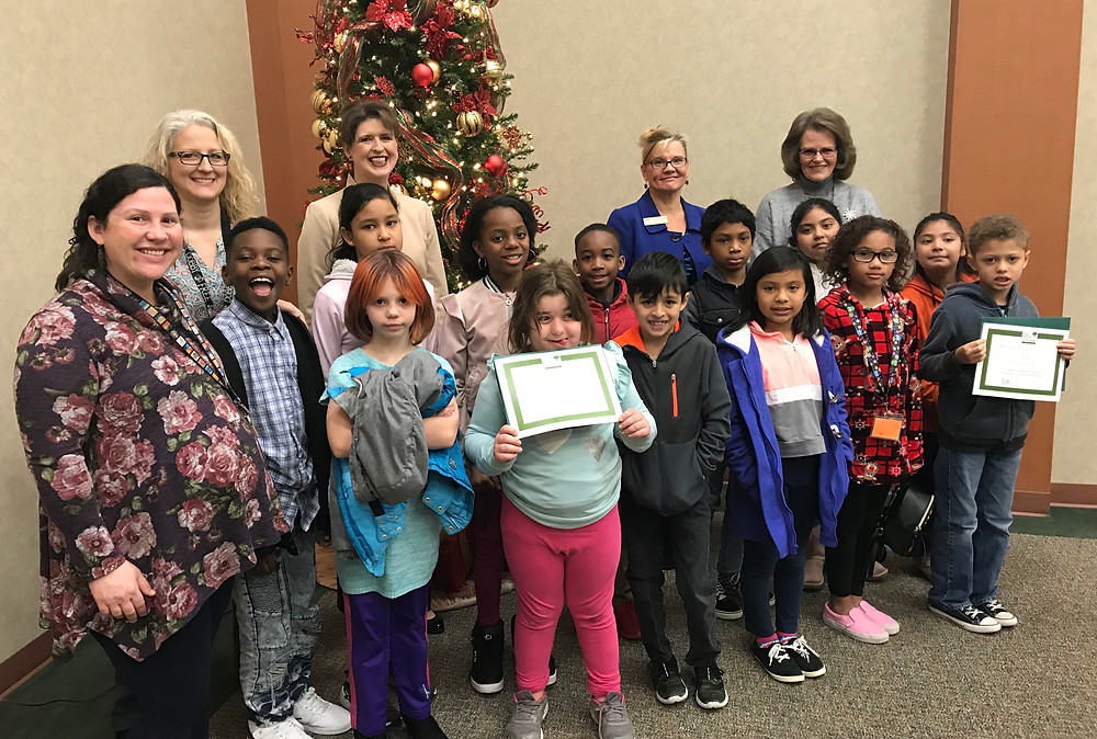 Students, teachers and administrators from Cayce Elementary and Saluda River Academy for the Arts, at the West Columbia Beautification Foundation meeting this week.