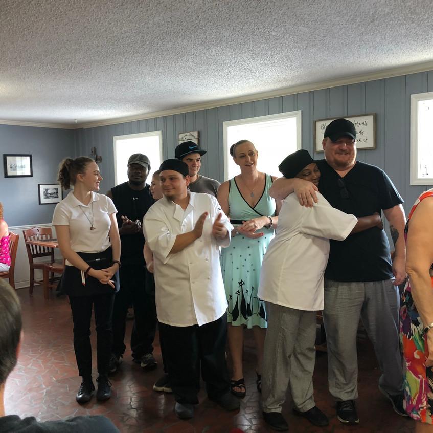 Manna Café staff celebrate