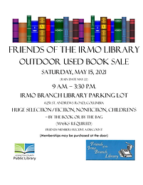 Outdoor Book Sale at Irmo Library May 15th