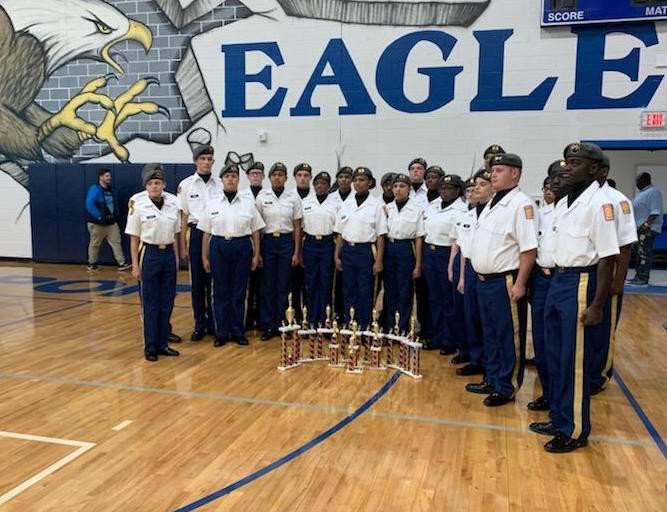 Members of the Airport drill team pose after the competition.