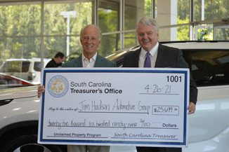 S.C. Treasurer Curtis Loftis returns nearly $26K in unclaimed funds to Jim Hudson Automotive Group