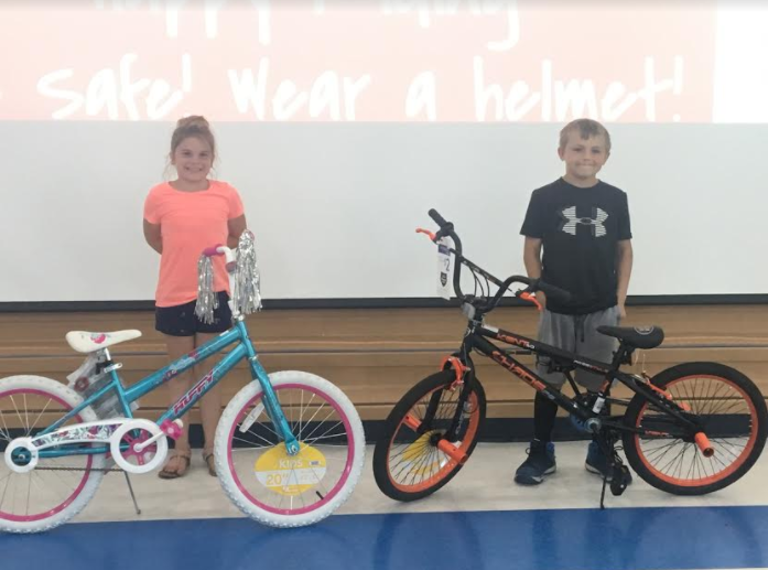 Ariana D'Elia and Leland Miller were among second-grade bike winners.