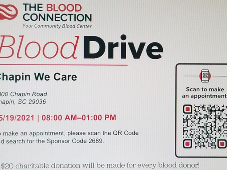 Donate blood and help We Care of Chapin at the same time