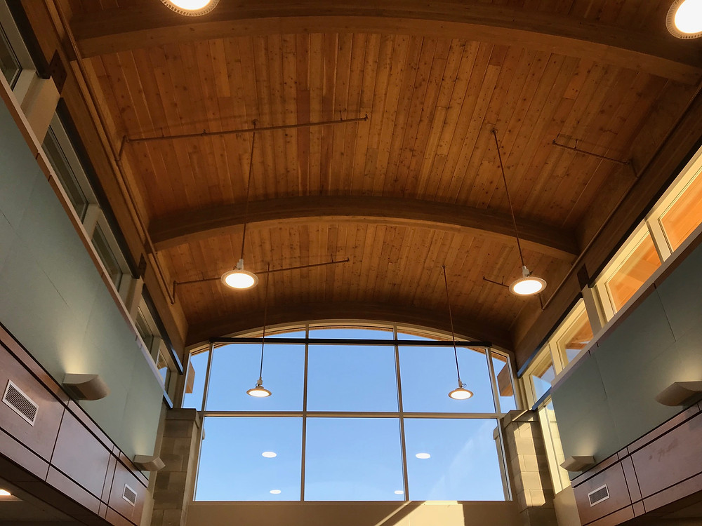 One of the signature features at Riverbank Elementary is a barrel roof, shown here in the school's media center